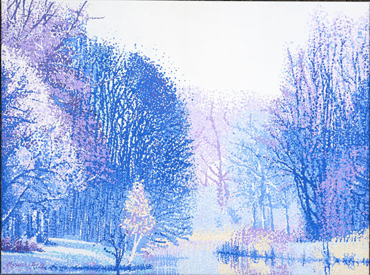 """2016 """"Stillness"""" winter version of the season serie in dot technique . Near Rotterdam painted with acrylic-paint on linen 60 x 80 cm. € 1200"""
