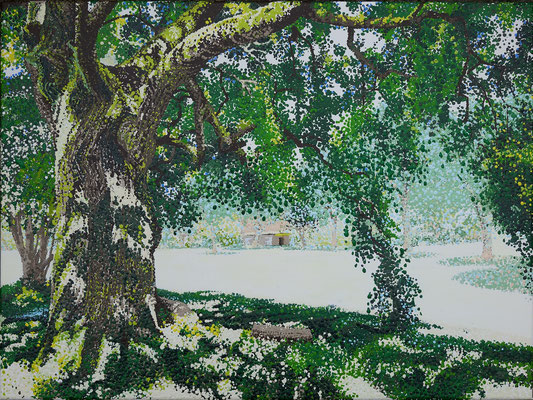 """2017 """"Upper Hamlet founded by Thich Nhat Hanh in 1982"""". Painted by Marian van Zomeren- van Heesewijk with acrylic-paint on linen"""