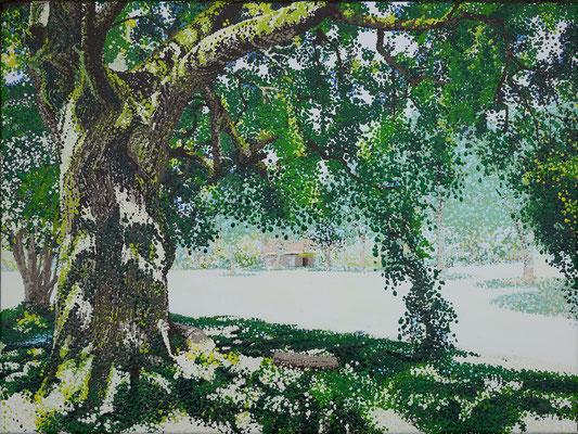 "2017 ""Great compassion tree in Plum village"". Painted by Marian van Zomeren- van Heesewijk with acrylic-paint on linen"