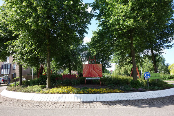 """2015 Commemorate the Okoumé tree"""" Painting on the roundabout adopted by the collective of artists """" Ateliers 1819"""""""