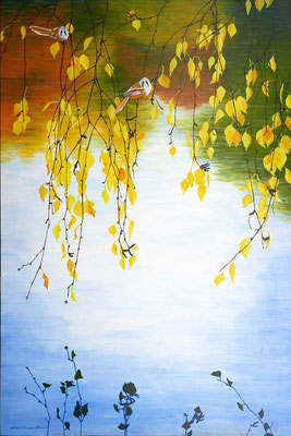 """2011-2017 """"In out deep slow, calm ease smile release. Present moment wonderful moment"""". Painted by Marian van Zomeren-van Heesewijk with acrylic paint on a panel 80 x 120 cm."""