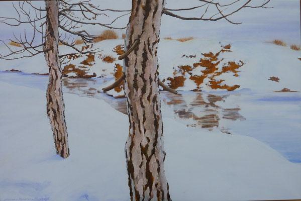 2012 Quiet winterlandscape I    acrylic paint on linen  80 x 120 cm.