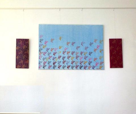 Gemälde Rosenregen Acryl auf Leinwand mit Keilrahmen Maße 130x90 cm