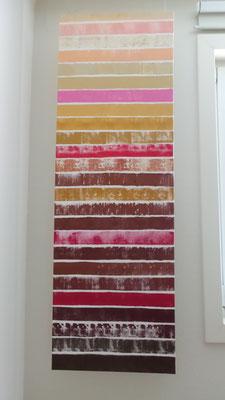 Acrylgemälde mit Streifen Braun Gold Rot Rose handgemalt Leinwand mit Keilrahmen 50x150 cm