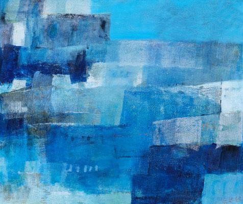 『青い町』(550mm×650mm/キャンバスに油彩・インク)