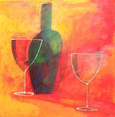 『ただふたつのグラスとひとつのボトルがあるということ』(410mm ×410mm/キャンバスにアクリルガッシュとインク)