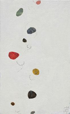 『浮遊する小石-color-』 (650mm×400mm/キャンバスに油彩・ペン)
