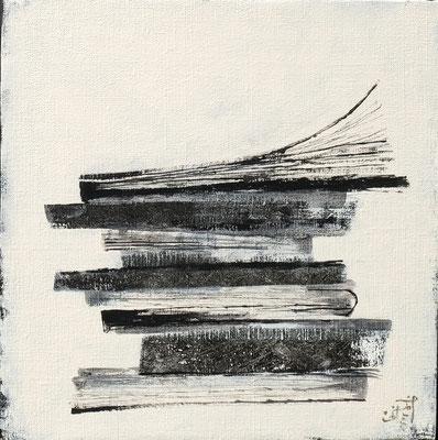 『風に読む』キャンバスにアクリルガッシュ・ペン/273mm×273mm