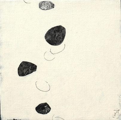 『浮遊する石』キャンバスにアクリルガッシュ・ペン/273mm×273mm