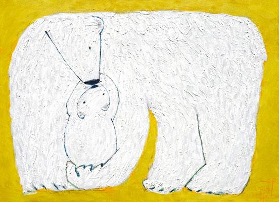 『Polar bears』 (800mm×1100mm/キャンバスに油彩・インク)