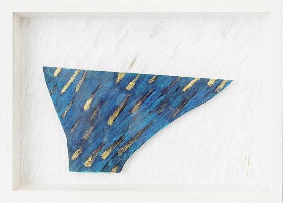 《あつめる器》 (半立体作品)紙にアクリル絵の具、ペン、色鉛筆、インク /2016