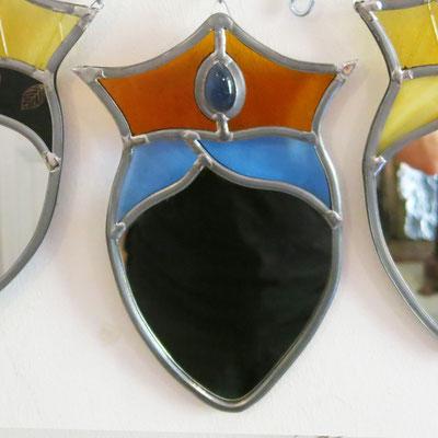 Blue Princess, miroir à suspendre, 25cm de haut