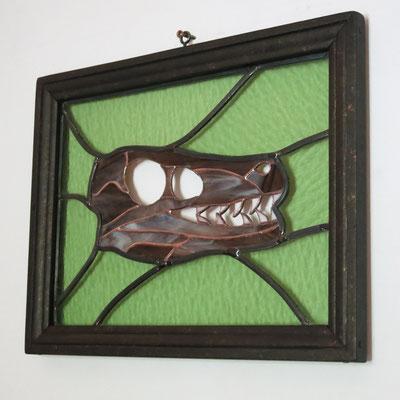 """Vitrail à suspendre """"Raptor"""" , cadre bois, 37x25 cm"""