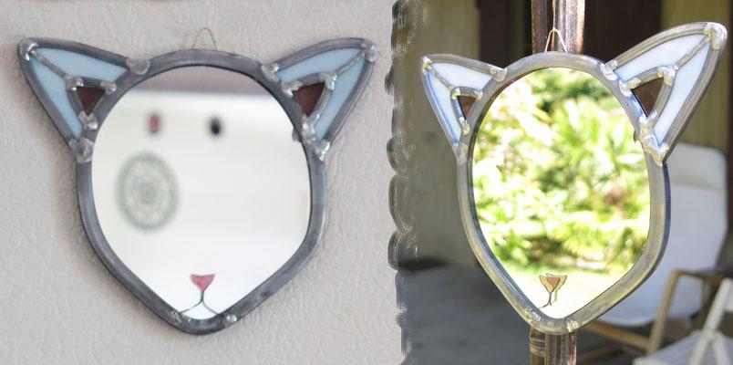 """""""Chat blanc"""", miroir à suspendre, H 15cm, L 18cm (vendu)"""
