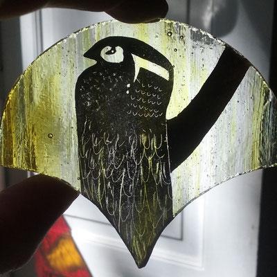 """Détail du vitrail """"hommage à G. Klimt"""" 127 x46 cm"""