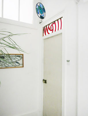 Vitrail en haut de porte intérieure 26x81 cm