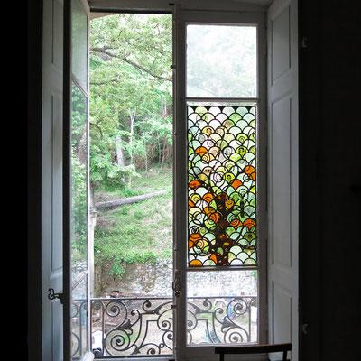 """Vitrail """"hommage à G. Klimt"""" 127 x46 cm"""