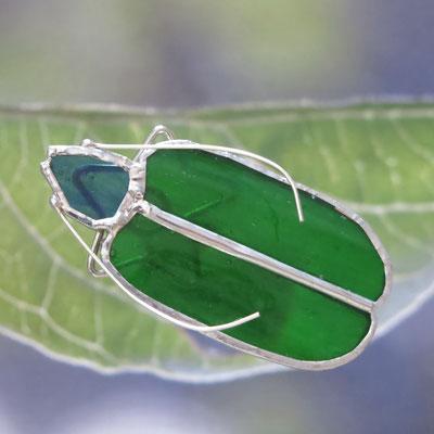 Insecte en verre sur tige métallique (env. 15 cm de haut)