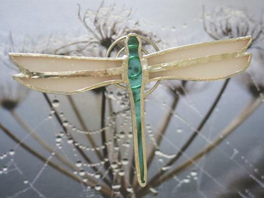 Libellule en verre sur tige métallique (env. 15 cm de haut)