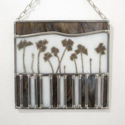 Déco de porte en vitrail au plomb : coquelicots env. 15 x 20 cm