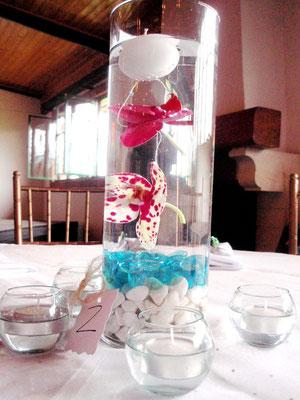 Centro de mesa matrimonio con orquídeas