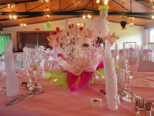 Centro de mesa con masmelos primera comunión Cajicá