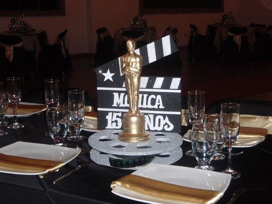 Centro de mesa temática premios Oscar en Cajicá
