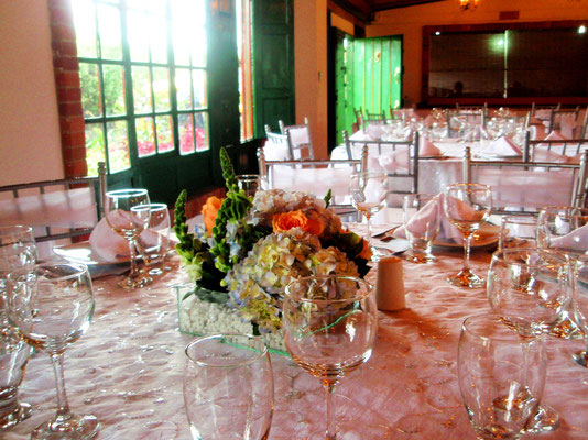 Decoración boda con hortensias