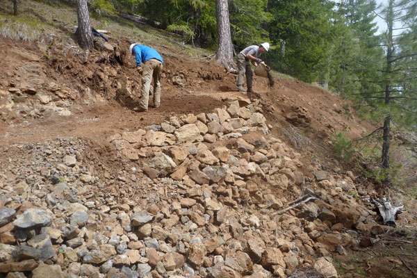 Finishing a rock retaining wall, SCA project leader training, Umatilla National Forest, OR, 2011