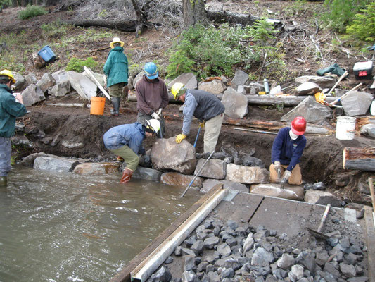 Retaining wall construction, Rock and Rigging Workshop, Deschutes National Forest, OR, 2010
