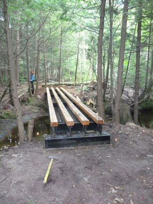 The assembled steel bridge frame with cedar nailers
