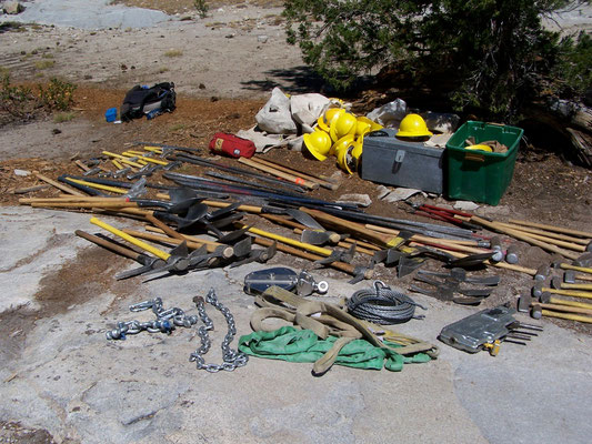 Rigging and trail tools, John Muir Wilderness, 2006