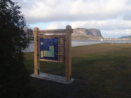 The finished kiosk with Mt. Kineo in the background