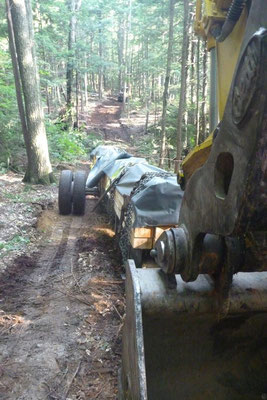The excavator pulls the bridge components through the woods