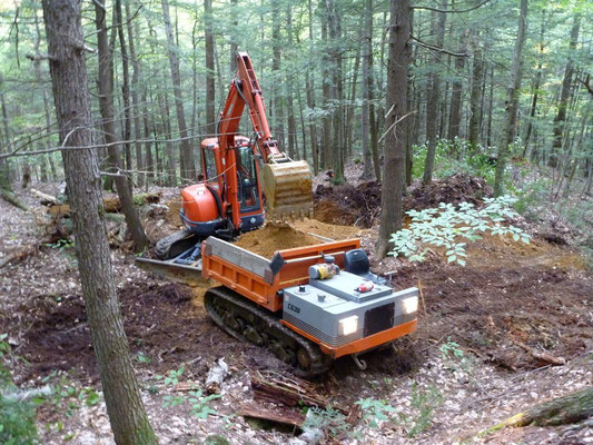 Loading soil into the crawler carrier, Riverlands State Park, Turner, ME, 2010