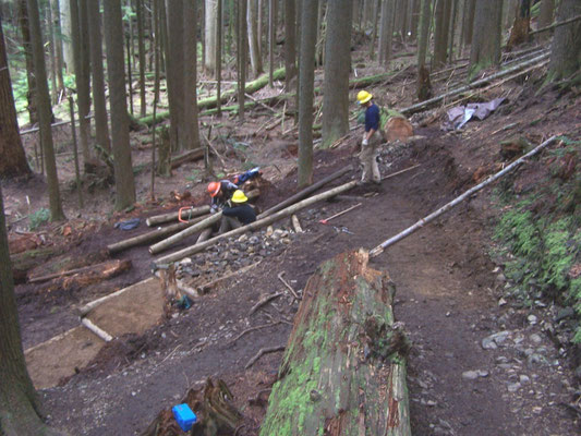 Rebuilding a switchback with timber cribbing, SCA work skills training, Mt. Si, WA, 2005
