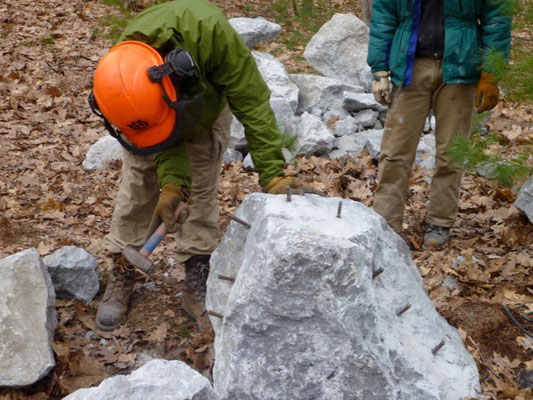 Splitting a rock with feathers and wedges, Maine Conservation Corps training, Jay, ME, 2012