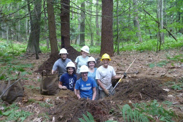 A large mineral soil excavation pit, SCA new trail construction training, Walpole, NH, 2012