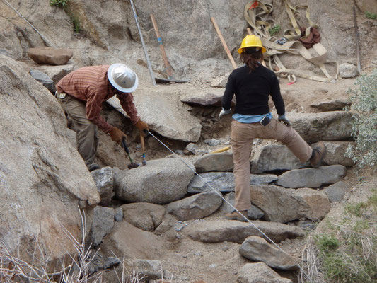 Constructing a retaining wall, SCA leadership development crew, Pacific Crest Trail, CA, 2010