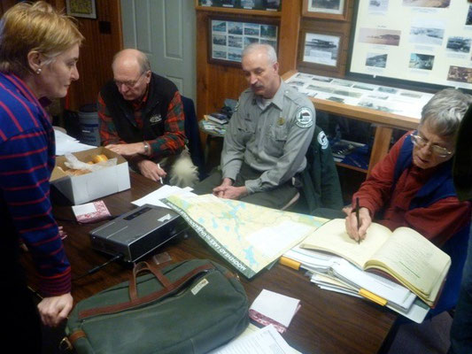 A follow up meeting at the Moosehead Historical Society helps gather mapping information, photos, and text