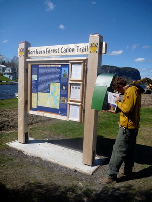 A check-in box is installed at the kiosk for paddlers to document their travels