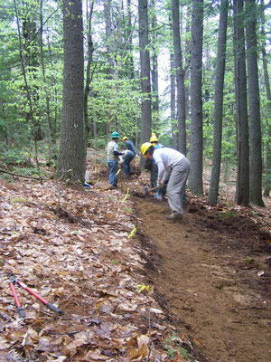 Grubbing out a new trail, Bear Brook work skills, Allenstown, NH, 2007