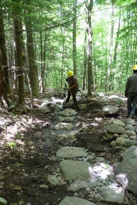 Setting stepping stones, SCA conservation skills training, Walpole, NH, 2010