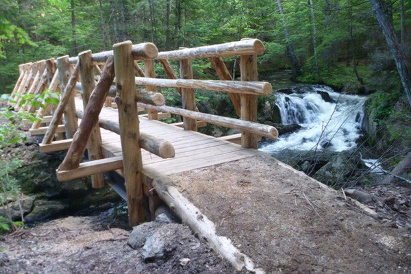 The finished bridge with the Bearcamp River