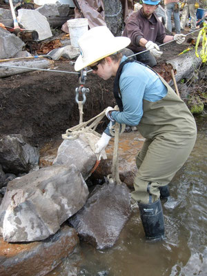 Setting retaining wall stones off a skyline, rock and rigging workshop, Deschutes National Forest, Bend, OR, 2010