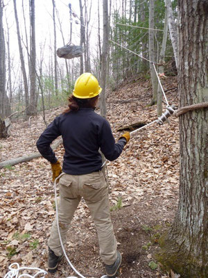 Belaying with a Port-a-wrap, Maine Conservation Corps Training, Jay, ME, 2012