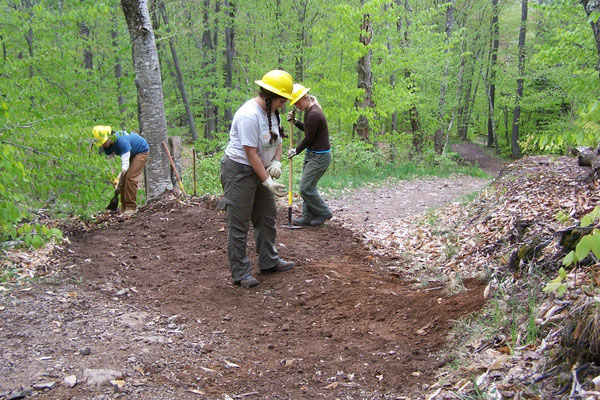 Building reinforced grade dips for erosion control, SCA work skills training, Frost Valley, NY, 2008