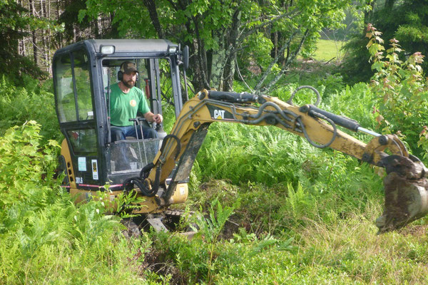 The process begins by removing the organic material with a mini-excavator