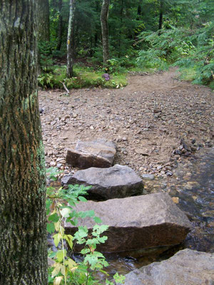 Large stepping stone crossing, White Mountains, NH, 2005
