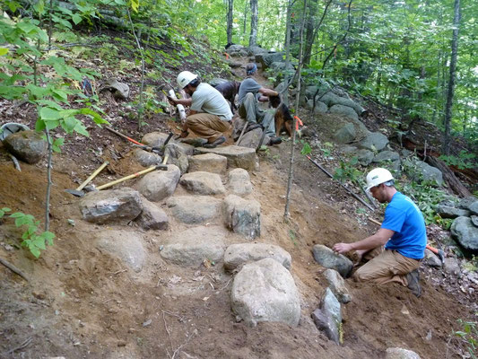 Slope stabilization and rock step construction, Squam Lakes Association trail crew training, Mt. Israel, NH, 2010